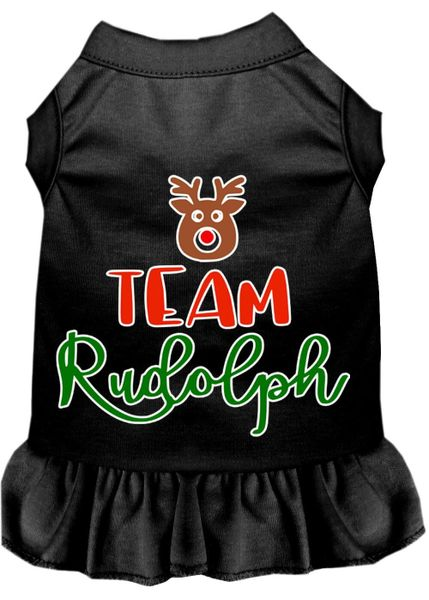 DOG DRESSES: Screen Print Dress TEAM RUDOLPH Poly/Cotton with Ruffle Trim in Various Sizes & Colors