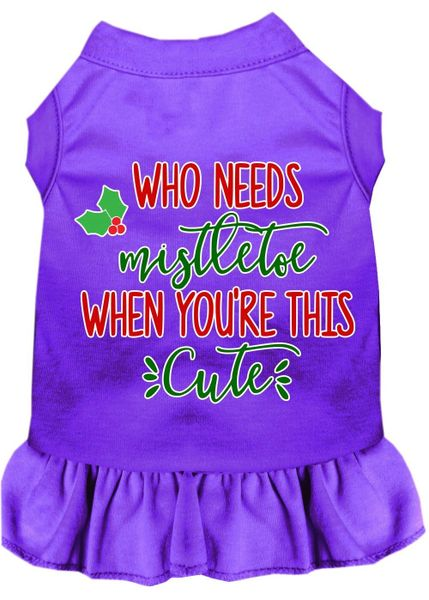 DOG DRESSES: Screen Print Dress WHO NEEDS MISTLETOE Poly/Cotton with Ruffle Trim in Various Sizes & Colors