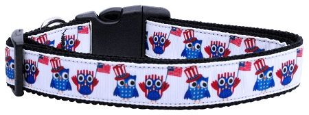Patriotic Dog Collars: Nylon Ribbon Collar AMERICAN OWLS by Mirage Pet Products - Matching Leash Sold Separately