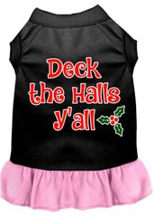 DOG DRESSES: Screen Print Dress DECK THE HALLS Y'ALL Poly/Cotton with Ruffle Trim Various Sizes & Colors by MiragePetProducts
