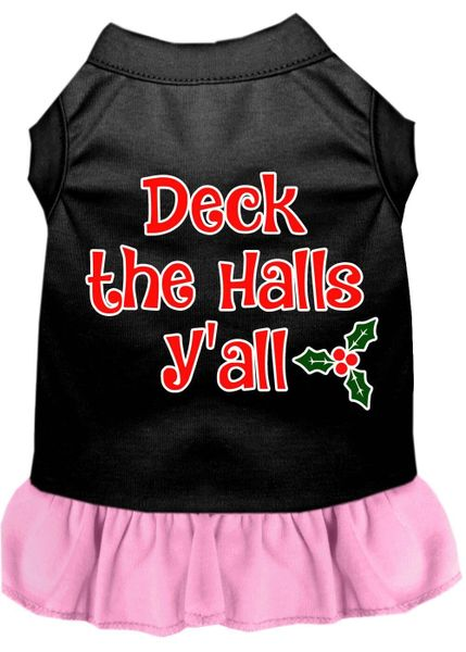 DOG DRESSES: Screen Print Dress DECK THE HALLS Y'ALL Poly/Cotton with Ruffle Trim in Various Sizes & Colors