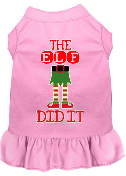 DOG DRESSES: Screen Print Dress THE ELF DID IT Poly/Cotton with Ruffle Trim in Various Sizes & Colors