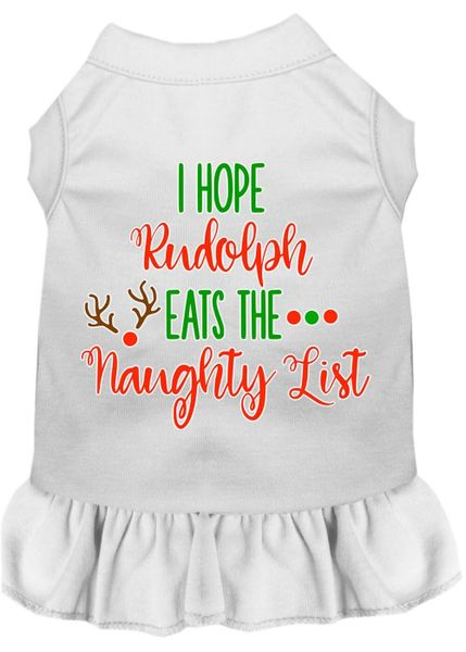 DOG DRESSES: Screen Print Dress I HOPE RUDOLPH EATS THE NAUGHTY LIST Poly/Cotton with Ruffle Trim in Various Sizes & Colors
