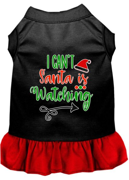 DOG DRESSES: Screen Print Dress I CAN'T SANTA IS WATCHING Poly/Cotton with Ruffle Trim in Various Sizes & Colors