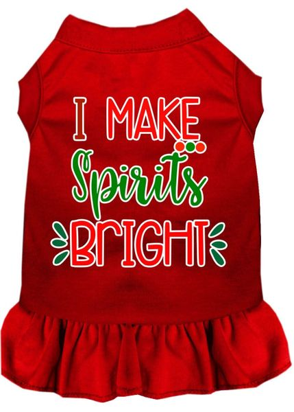 DOG DRESSES: Screen Print Dress I MAKE SPIRITS BRIGHT Poly/Cotton with Ruffle Trim IN Various Sizes & Colors