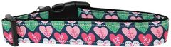 Holiday Dog Collars: Nylon Ribbon Dog Collar USA - ANCHOR CANDY HEARTS