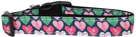 Holiday Dog Collars: Nylon Ribbon Dog Collar ANCHOR CANDY HEARTSUSA - Matching Dog Leash Sold Separately