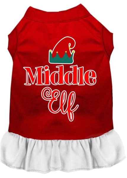 DOG DRESSES: Screen Print Dress MIDDLE ELF Poly/Cotton with Ruffle Trim in Various Sizes & Colors