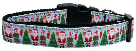 Holiday Nylon Dog Collars: Nylon Ribbon Collar AQUA SANTA by Mirage Pet Products - Matching Leash Sold Separately