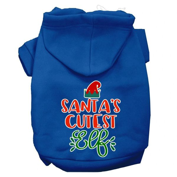 Dog Hoodies: SANTA'S CUTEST ELF Screen Print Dog Hoodie in Various Colors & Sizes by Mirage