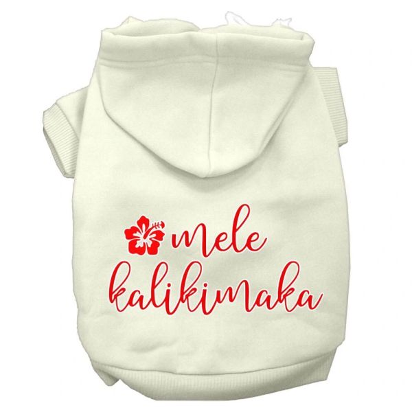Dog Hoodies: MELE KALIKIMAKA Screen Print Dog Hoodie in Various Colors & Sizes by Mirage