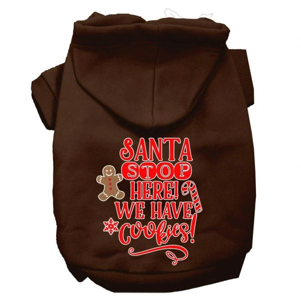 Dog Hoodies: SANTA STOP HERE WE HAVE COOKIES Screen Print Dog Hoodie in Various Colors & Sizes by Mirage