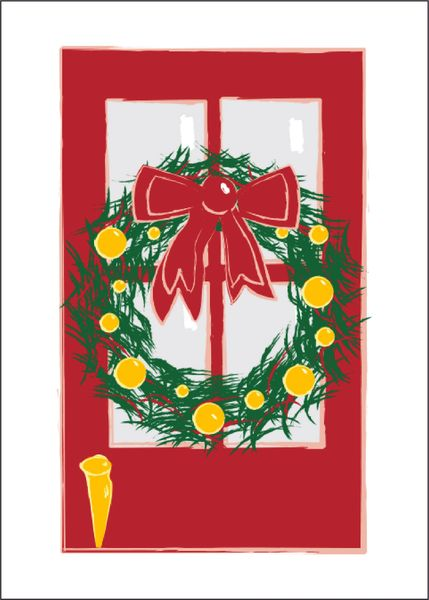 Red Door Christmas Card