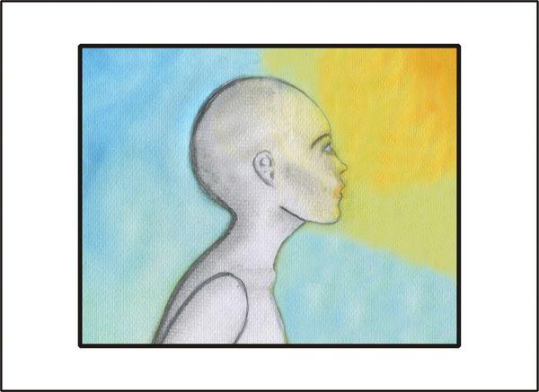 human seeking the Light of Peace - Watercolor