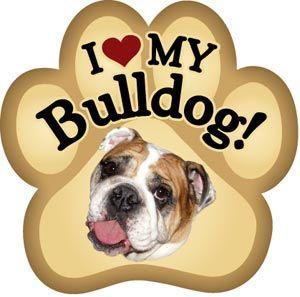 I Love My Bulldog Paw Magnet