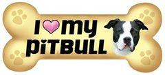 I Love My Pitbull Bone Magnet