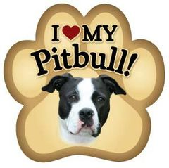 I Love My Pitbull Paw Magnet
