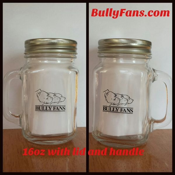 Bully Fans Mason Jar with Handle & Lid
