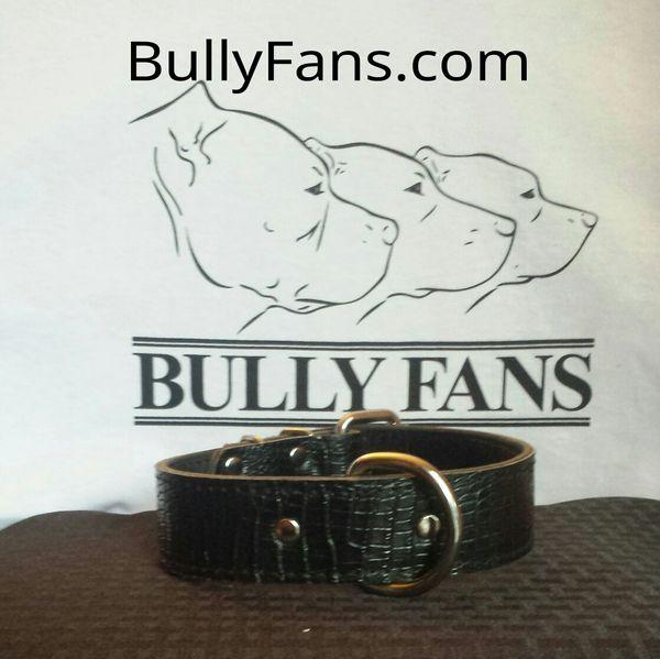 1.5 inch Black Gator Dog Collar