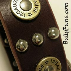 1.5 inch Brown Leather Dog Collar with Studs and Bullets