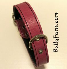 1 inch Pink Leather Dog Collar