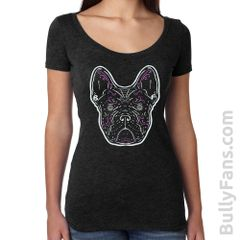 Frenchie De Los Muertos LADIES Scoop T-shirt - Black Frenchie