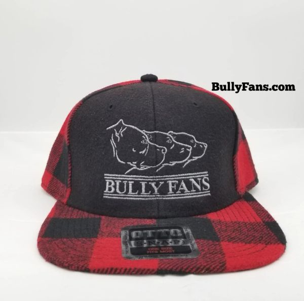 Red&Black Flannel Bully Fans Logo Snapback