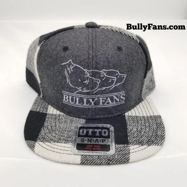 Grey&Black Flannel Bully Fans Logo Snapback