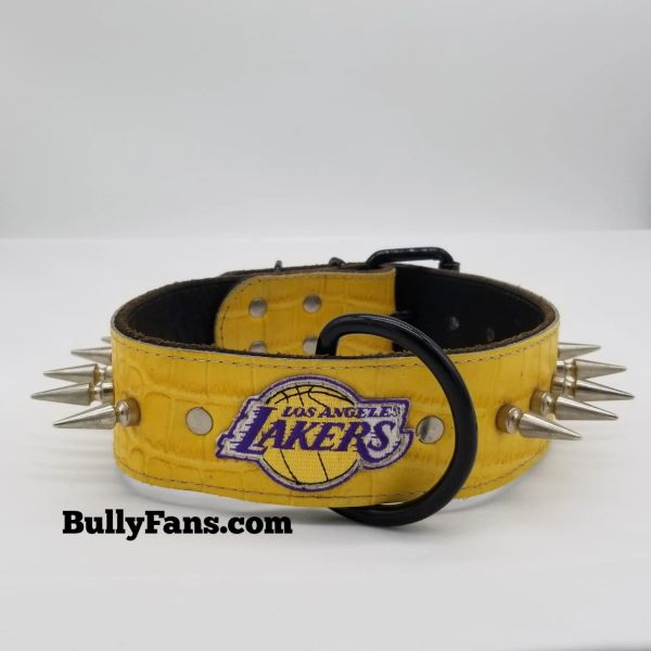 "2"" Yellow Gator Dog Collar with LA Lakers Emblem & Tall Spikes"