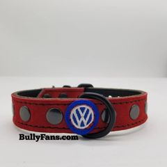 1 inch Red Suede Dog Collar with VW Emblem