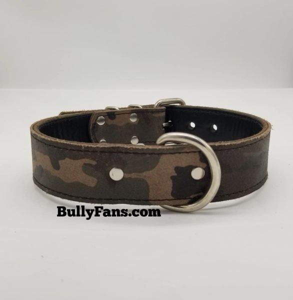 1.5 inch Camo Leather Dog Collar