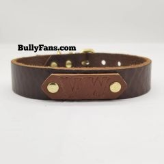 1 inch Brown Leather Dog Collar with VW patch