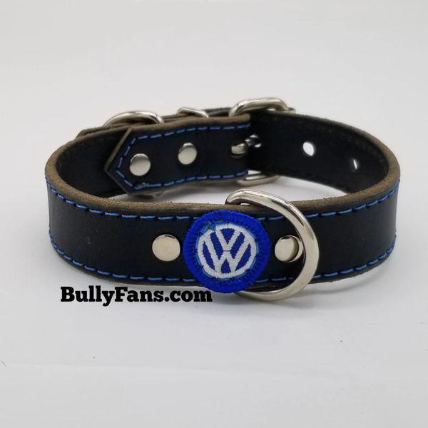 1 inch Black Dog Collar with VW Emblem