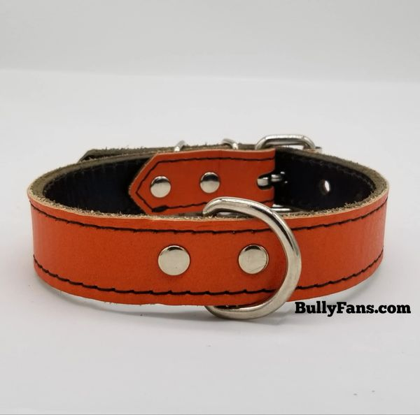 1 inch Orange Leather Dog Collar