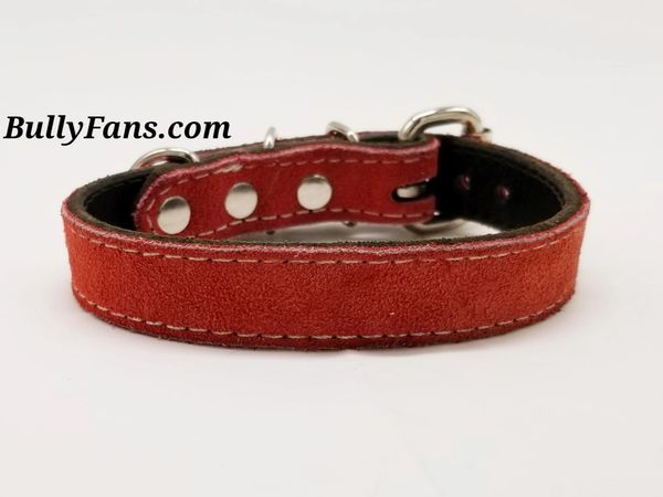 5/8 inch Red Suede Leather Dog Collar
