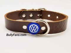 1 inch Brown Leather Dog Collar with VW emblem