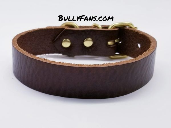 1 inch Brown Leather Dog Collar