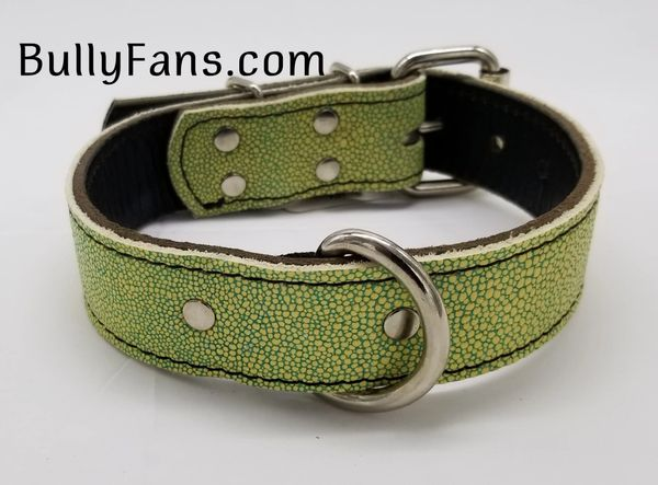 1.5 inch Light Green Leather Dog Collar