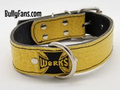 1.5 inch Yellow Gator Dog Collar with Werks Patch