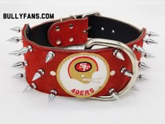 3 inch Red Suede Dog Collar with 49er patch