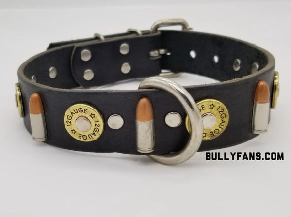 1.5 inch Black Leather Dog Collar with Bullets and Shotgun Shells