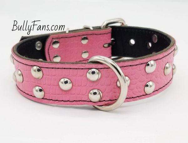 1.5 inch Pink Gator Dog Collar with Round Studs