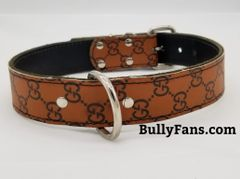 1.5 inch Brown Designer Dog Collar