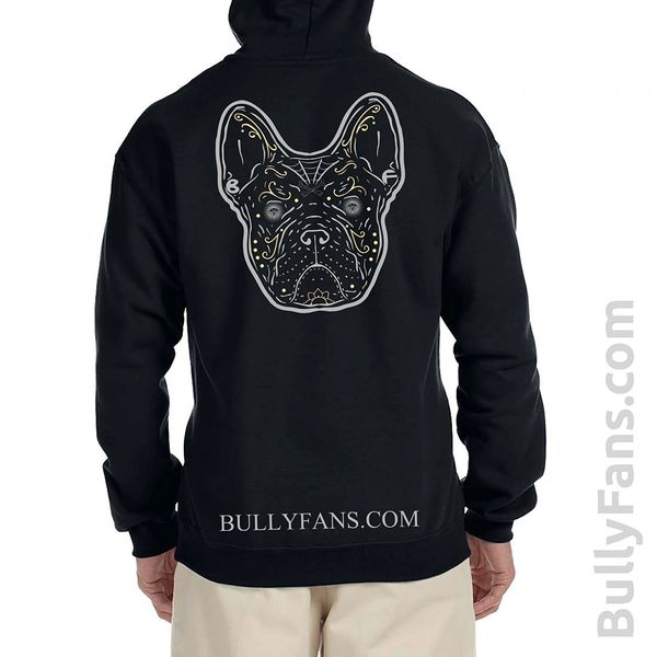 Zippered Hoodie - Bully Fans Gray Frenchie DeLosMuertos