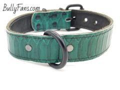 1.5 inch Jade Snakeskin Dog Collar