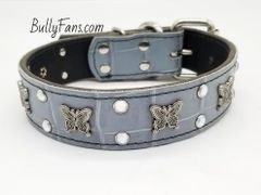 1.5 inch Gray Dog Collar with Crystals and Butterflies