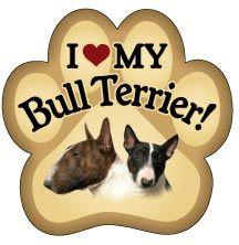 I Love My Bull Terrier Paw Magnet