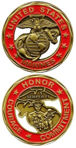 Military US Marines Corps Semper FI Honor Commit & Courage Challenge Coin  Motto