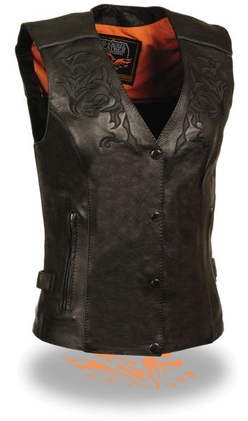 Women's Vest w/ Reflective Tribal Design & Piping ML1296