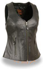 Ladies Black Leather Open Neck Zipper Front Motorcycle Vest MLL4530
